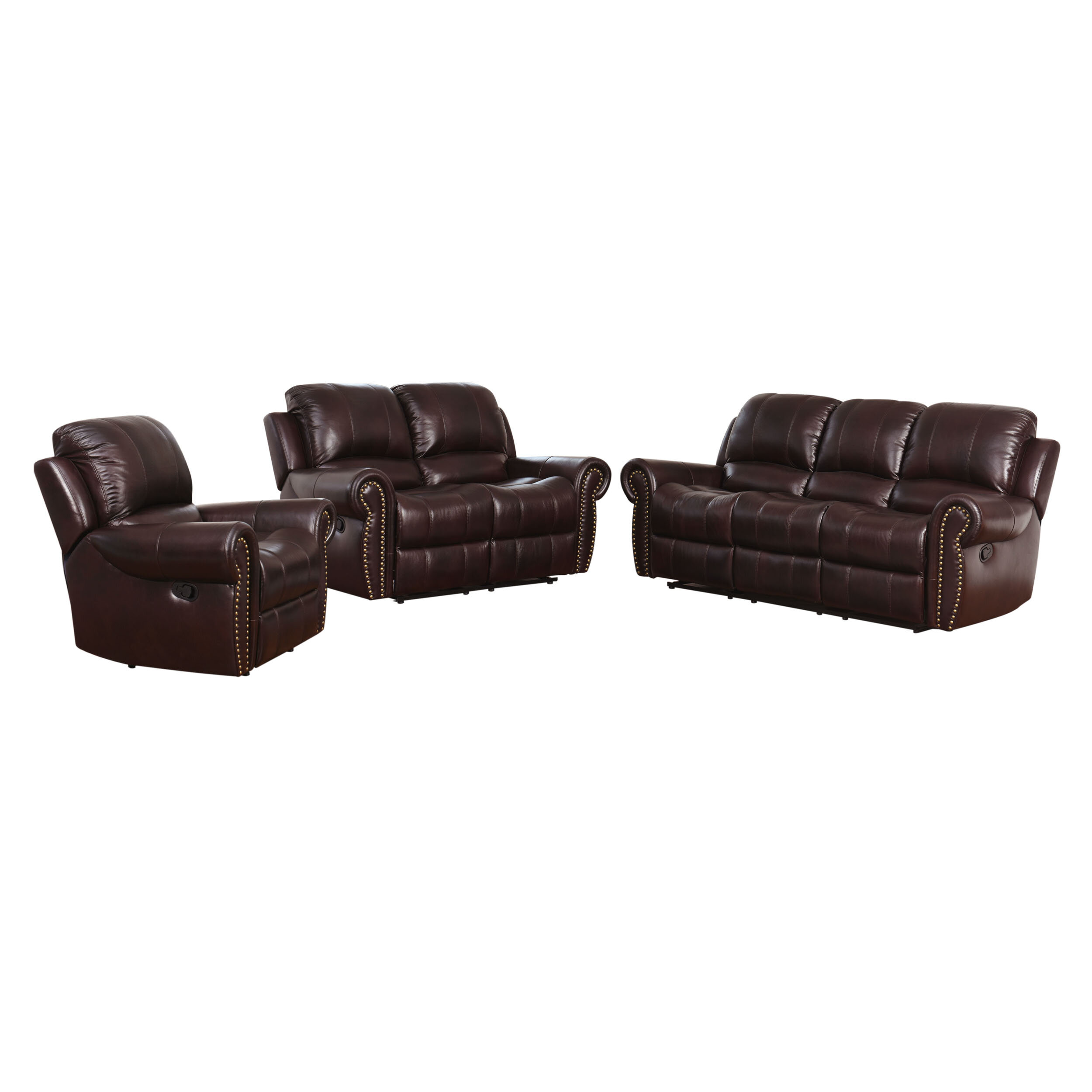 Darby home co barnsdale reclining 3 piece leather reclining living room set reviews wayfair