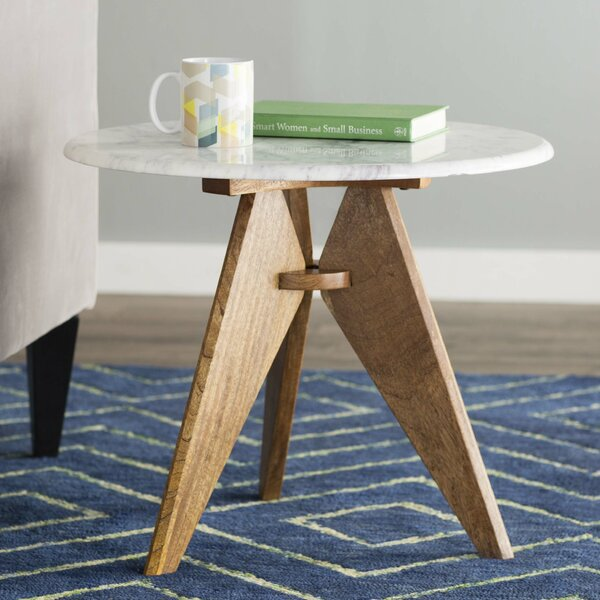 Koury Tall Marble Top 3 Legs End Table Amp Reviews Allmodern