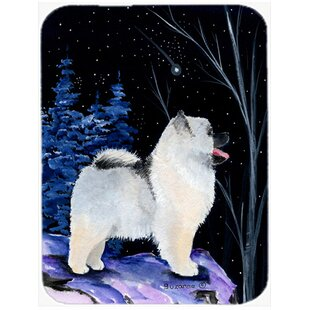 Starry Night Keeshond Glass Cutting Board By Caroline's Treasures