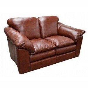 Oregon Leather Loveseat Omnia Leather Seat Cushion Fill: Down Cushion Fill, Body Fabric: Softsations Olive