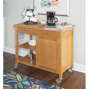 Rafferty Kitchen Cart with Granite Top Millwood Pines