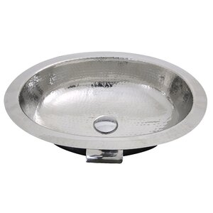 Hand Hammered Stainless Steel Oval Undermount Bathroom Sink With Overflow