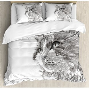 Animal Cat Head Portrait Furry Cute Head Kitten Domestic Meow Pet Drawing Illustration Duvet Cover Set