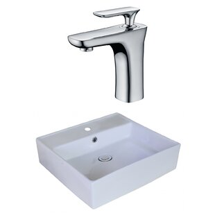 Compare Above Counter Ceramic Square Vessel Bathroom Sink with Faucet and Overflow ByRoyal Purple Bath Kitchen