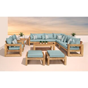 Mcclain 11 Piece Sunbrella Sectional Seating Group with Cushions by Rosecliff Heights