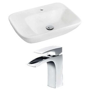 Compare prices Ceramic 23.5 Wall-Mount Bathroom Sink with Faucet ByRoyal Purple Bath Kitchen