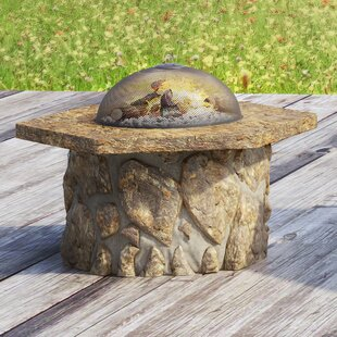 Loon Peak Ryegate Faux Stone Wood Burning Fire Pit Table