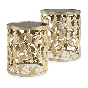 Calkins Aluminum and Wood 2 Piece End Table Set