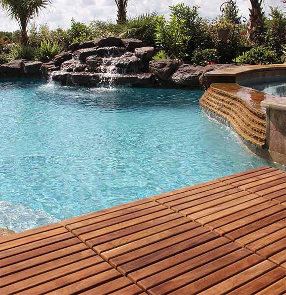 BareDecor EZFloor X Teak Wood SnapIn Deck Tiles In Oiled - Teak patio flooring 12x12