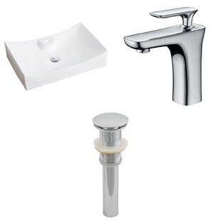 Budget Above Counter Ceramic Rectangular Vessel Bathroom Sink with Faucet ByRoyal Purple Bath Kitchen