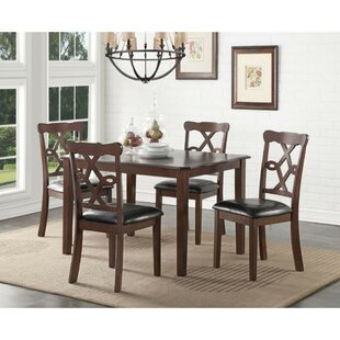 Eggert Transitional 5 Piece Solid Wood Dining Set