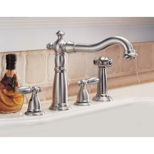 Victorian Standard Double Handle Kitchen Faucet with Side Spray and Diamond Seal Technology