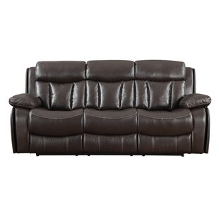 Poplin Leather Reclining Sofa by Darby Home Co