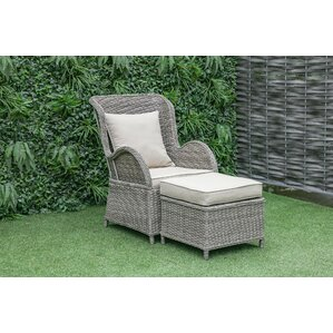 Silke Outdoor Patio Chair And Ottoman With Cushions