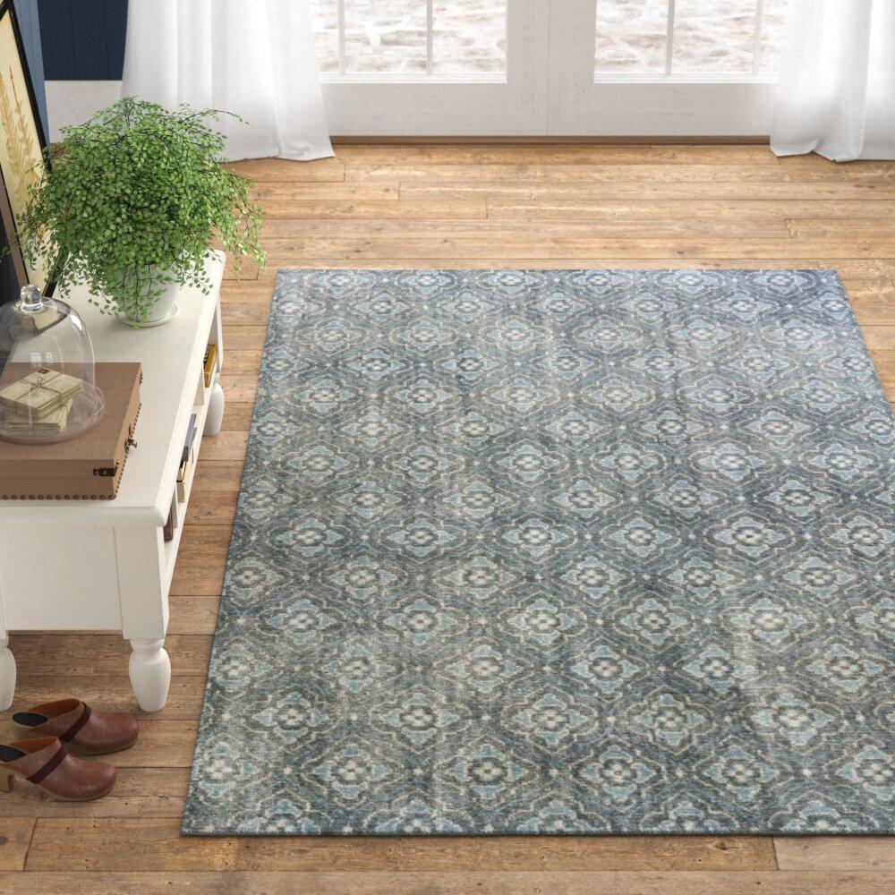 Boggess Geometric Handmade Knotted Wool Dark Green Khaki Area Rug Allmodern