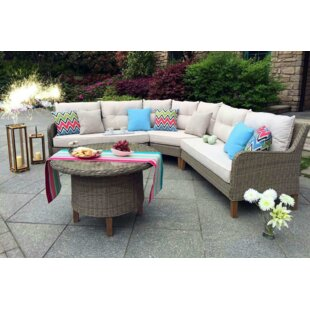 Sorrento Garden 4 Piece Rattan Sectional Set with Cushions