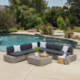 Linden Boulevard 4 Piece Rattan Sectional Set with Cushions