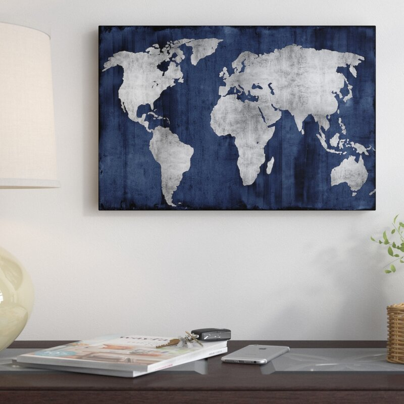 East urban home the world graphic art print on canvas in silver the world graphic art print on canvas in silver and blue gumiabroncs Images