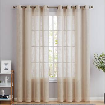 Rosdorf Park Mccreary Solid Color Semi Sheer Grommet Curtain Panels Reviews Wayfair