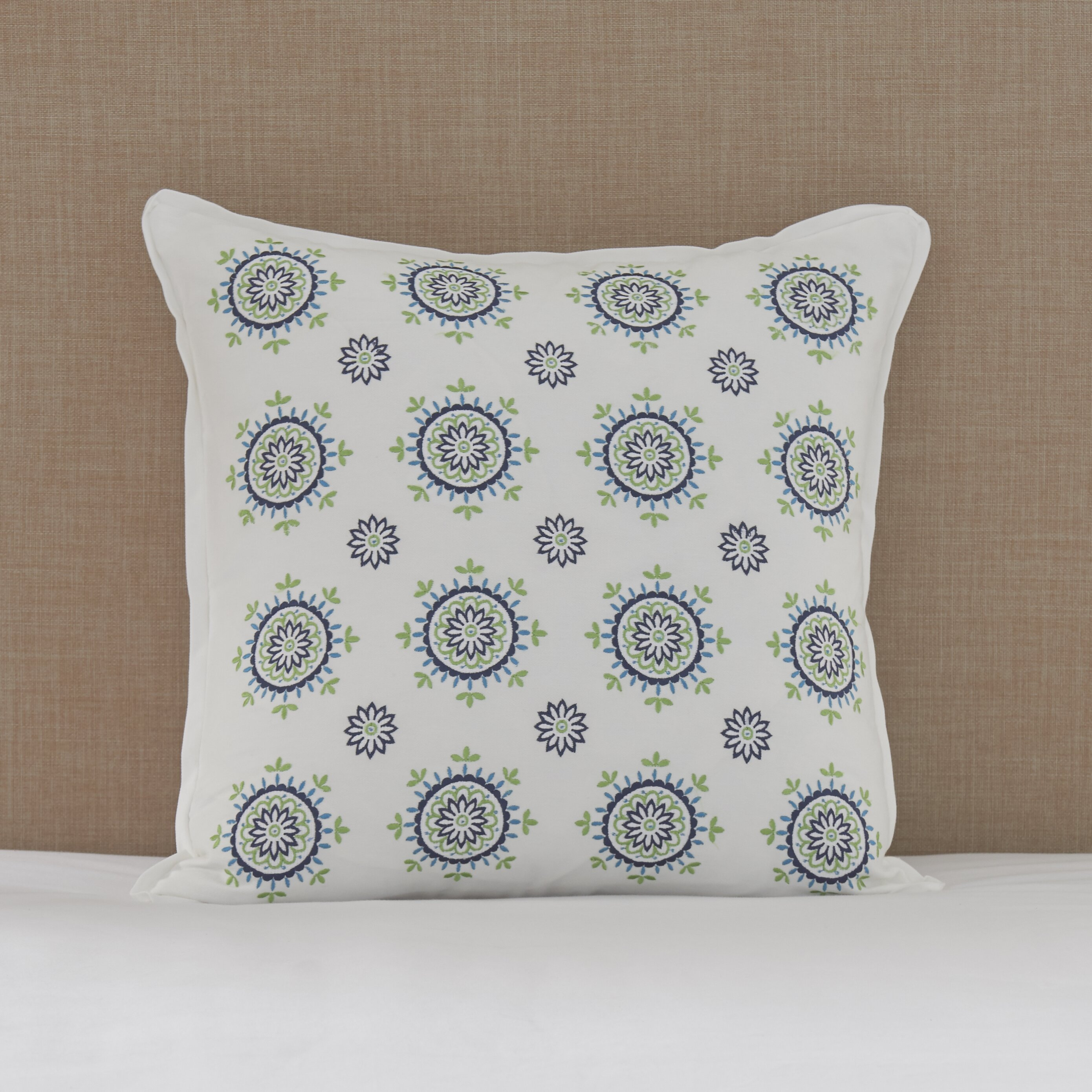 August Grove Palos Floral Medallions Cotton Throw Pillow Wayfair
