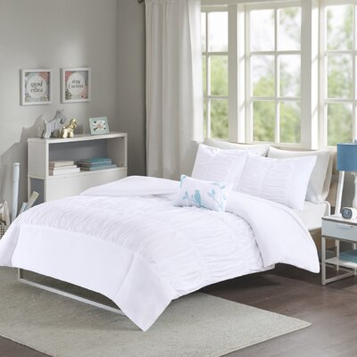 House of Hampton Mincey Reversible Duvet Cover Set Size: Twin / Twin XL, Color: White