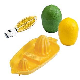 4-Piece Lemon, Lime, Citrus Zester and Twin Juicer Set