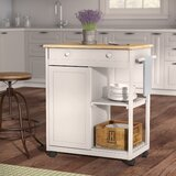Woolsey Kitchen Cart with Wooden Top by August Grove®