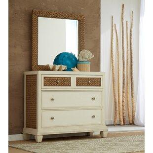 Panama Jack Home Bridge Hampton Seagrass 3 Drawer Dresser with Mirror