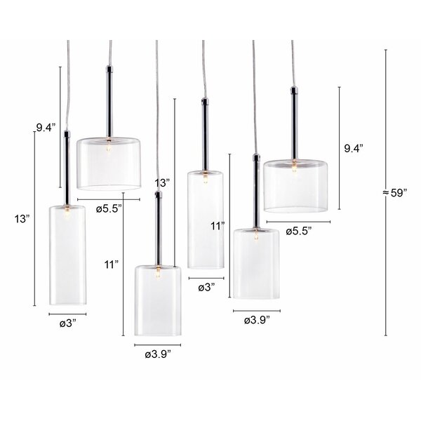 Orren Ellis Vanguilder 6 Light Cluster Cylinder Pendant Wayfair