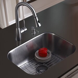 VIGO 23 inch Undermount Single Bowl 18 Gauge Stainless Steel Kitchen Sink with Aylesbury Stainless Steel Faucet, Grid, Str...