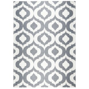 Rio Power Loom Polyester Gray/White Indoor/Outdoor Area Rug