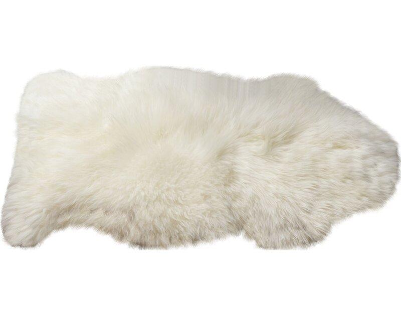 Burgett Handmade Shag Sheepskin Ivory Area Rug