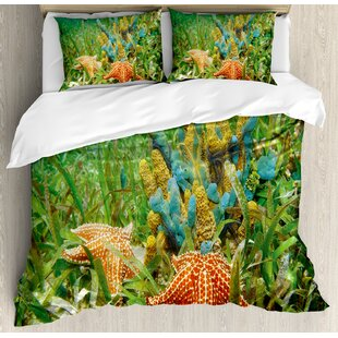 East Urban Home Starfish Underwater Life with Sponges Surrounded by Seagrass Duvet Set