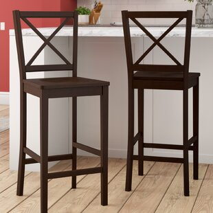 Compare prices Charlotte Cross Back 24 Bar Stool (Set of 2) by Darby Home Co Reviews (2019) & Buyer's Guide