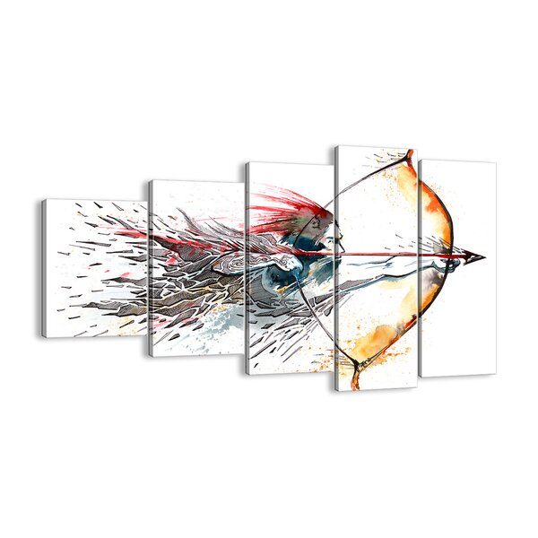 Bloomsbury Market Mythical Warrior With A Fiery Bow 5 Piece Graphic Art Print Set On Canvas Wayfair Co Uk