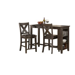 Gracie Oaks Balmer Spencer 3 Piece Counter Height Dining Set