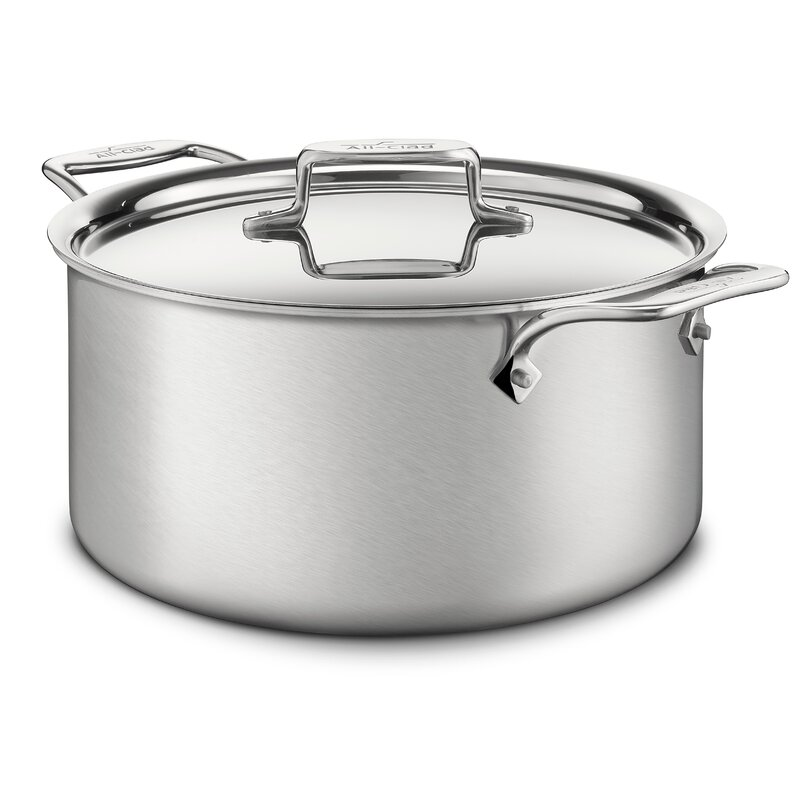 All-Clad d5 Brushed Stainless Steel Stock Pot with Lid  Size: 8-qt.