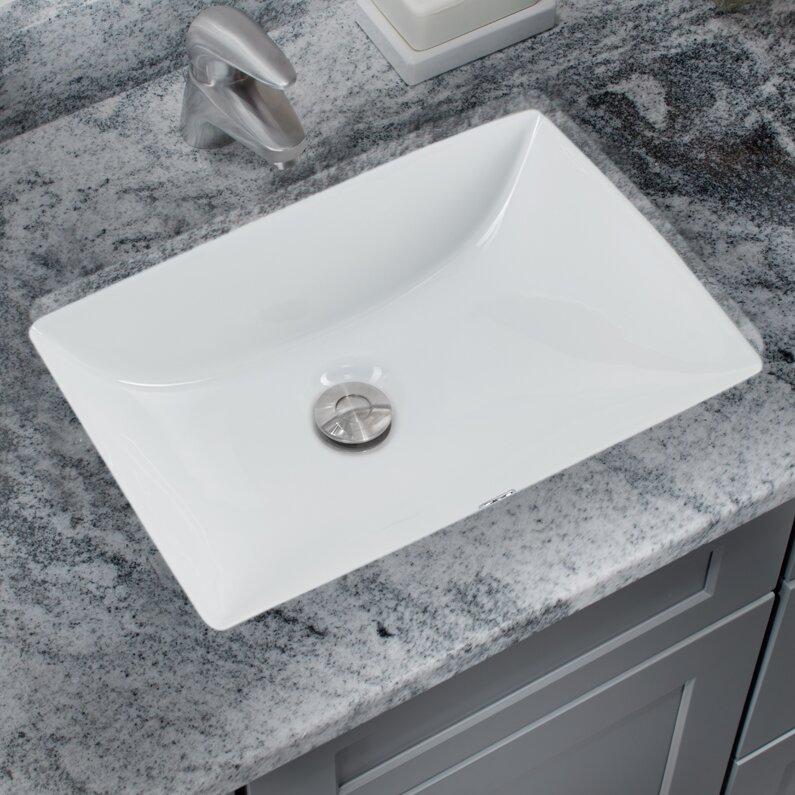 Glazed Vitreous China Rectangular Undermount Bathroom Sink With Overflow Reviews Allmodern