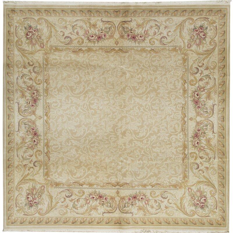 Bokara Rug Co., Inc. One-of-a-Kind Jahan Quality Hand-Knotted Square 8 Wool Beige Area Rug