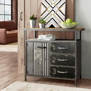 Hartland 1 Door 3 Drawer Metal and Wood Utility Accent Cabinet by Williston Forge