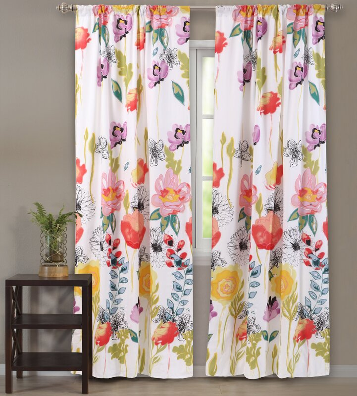 Appenzell Nature/Floral Sheer Rod Pocket Curtain Panels