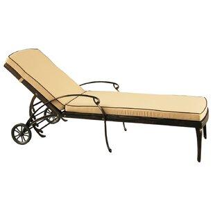 Fleur De Lis Living Cashin Mesh Lattice Outdoor Reclining Chaise Lounge with Cushion