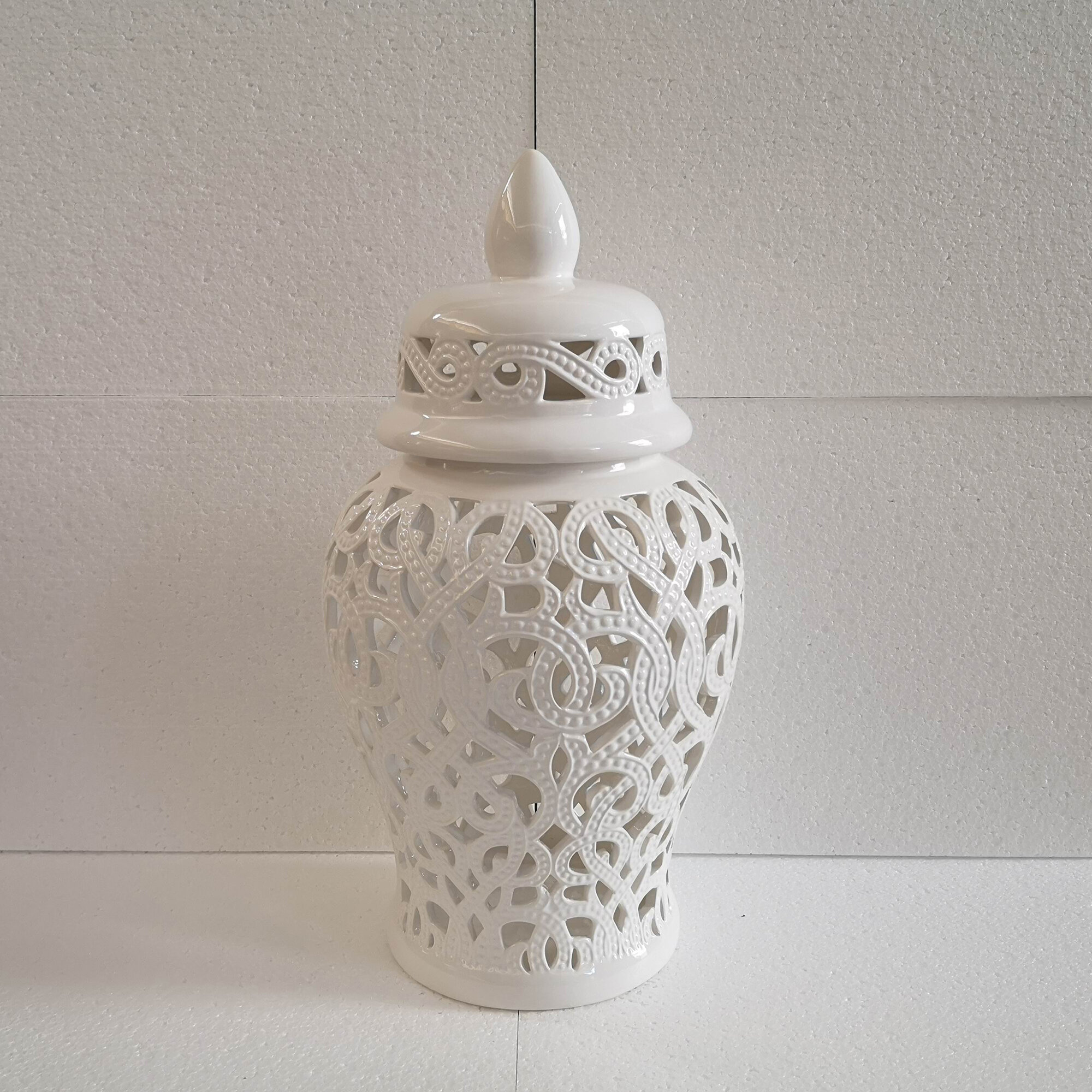 World Menagerie Merriwa White 18 11 Indoor Outdoor Ceramic Jar Reviews Wayfair