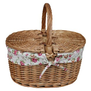 Lidded Garden Rose Lined Oval Picnic Basket By Lily Manor