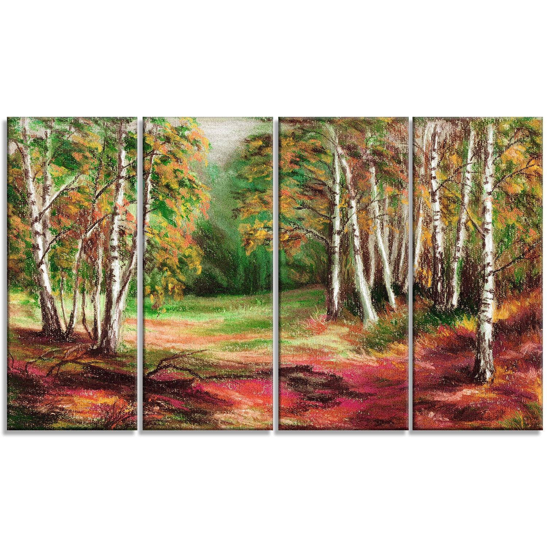 Designart Autumn Forest Landscape 4 Piece Painting Print On Wrapped Canvas Set Wayfair