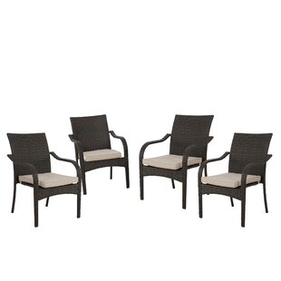 Deanna Stacking Patio Dining Chair with Cushion (Set of 4)
