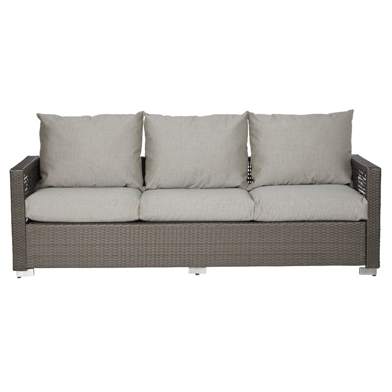 Mcmanis Outdoor Open Weave Rattan Patio Sofa With Cushions