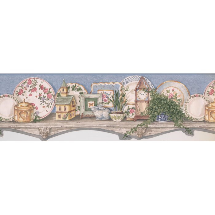 Wallpaper Borders For Kitchen.Bourland Country Kitchen Wood Shelf Plates Clock Bunny 7 4 L X 180 W Wallpaper Border