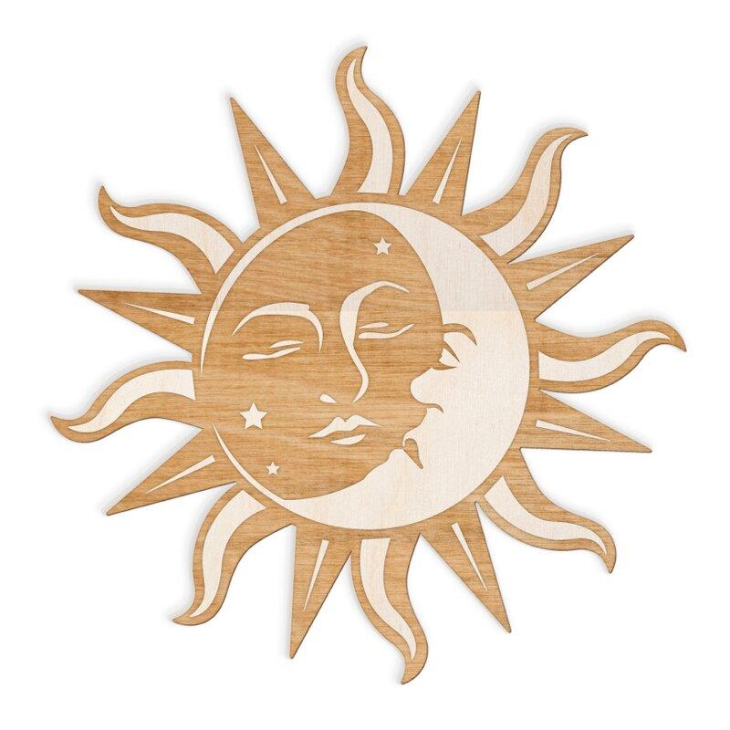 Sun Moon Face Engraved Cut Wood Sign Wall Décor