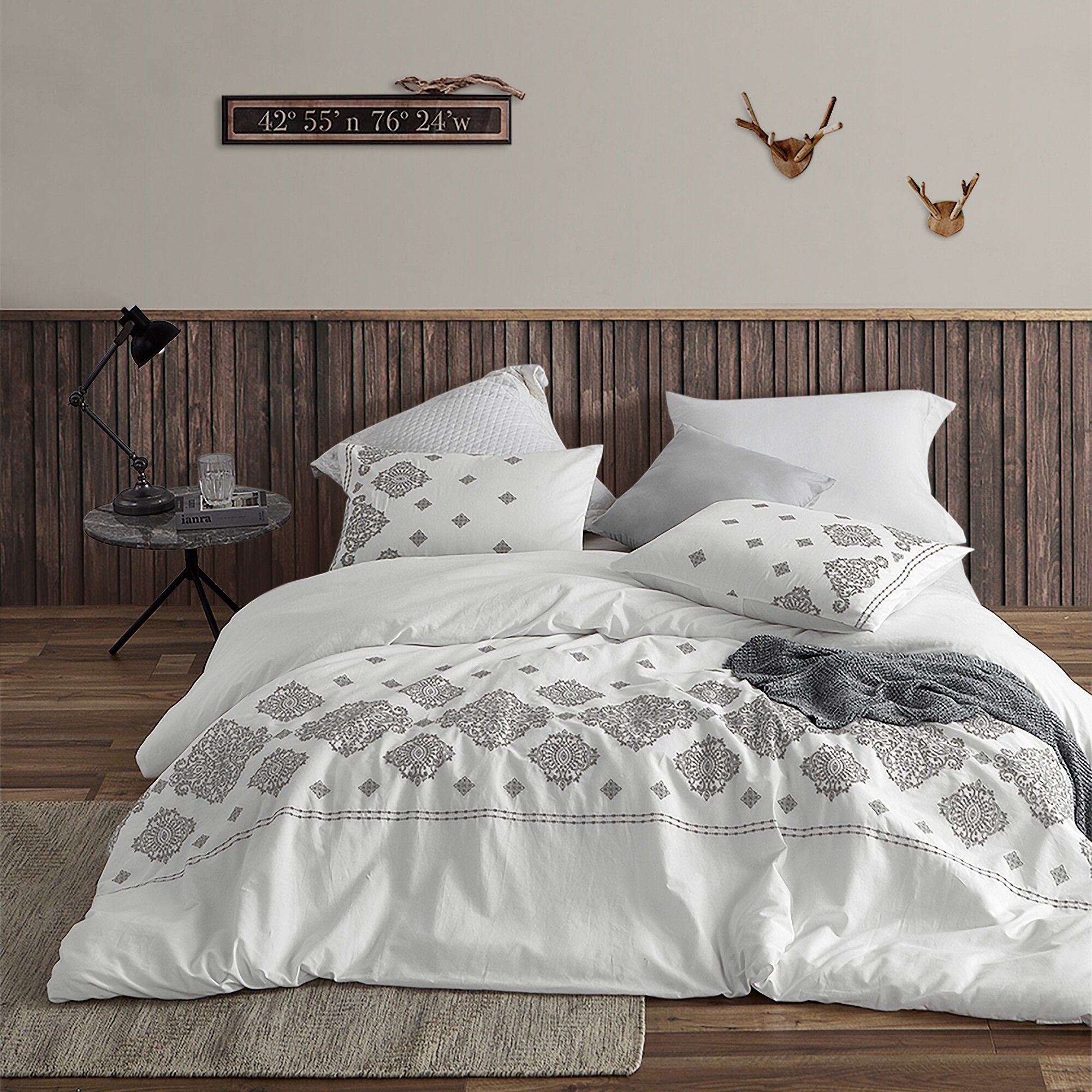 Bungalow Rose Datey Embroidered Duvet Cover Set Reviews Wayfair
